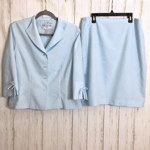 Vintage Sky Blue Gingham Print 2-Piece Skirt Suit